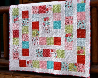Quilt Baby Toddler Children Lil Red Riding Hood Red Pink Aqua Squares Scrappy Patchwork Nursery Bedding Cot Crib Wolf
