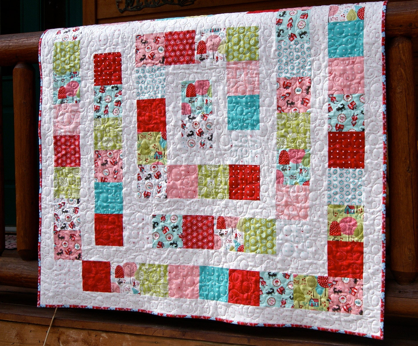 Quilt Baby Toddler Children Lil Red Riding Hood Red Pink Aqua
