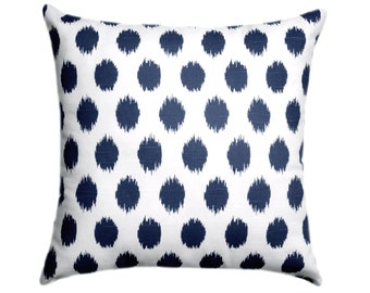 Navy STUFFED Throw Pillow, Navy and White Pillow, Polka Pillow, Navy Dot Pillow, Jojo Navy Accent Pillow, Navy Retro Pillow - Free Ship