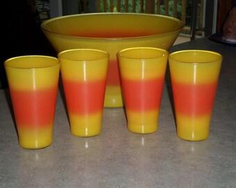 Blendo Glass West Virgina tequila sunrise tumbler glasses & Bowl yellow orange candy corn