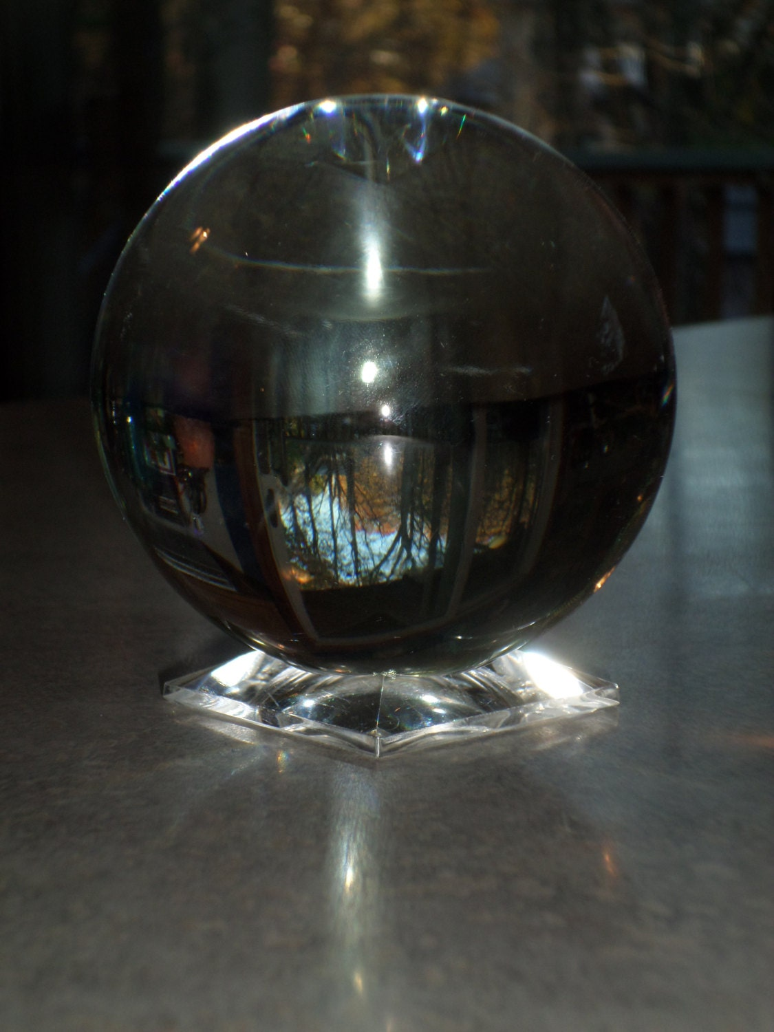 Crystal ball with glass stand