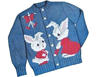 Peter Rabbit Sweater PATTERN Knit O Graf 203 cardigan pullover for Children sz 2 4 6 8 Graph knitting pattern  PDF instant download
