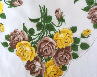 Vintage White Handkerchief with Yellow and Brown Roses