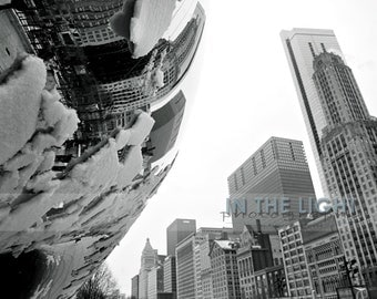 Millenium Park, Chicago, The Bean 4 - Fine Art Photograpy - Black & White - 8x10, 11x14, other sizes available