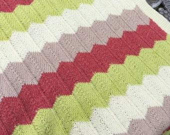 Baby Blanket Knitting Pattern, Baby Blanket Pattern, Knit Chevron Pattern, PDF Knitting Pattern, Knit Blanket Pattern, Chevron Blanket PDF