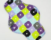 """10"""" Moderate Flow Reusable Cloth Menstrual Pad ~ Made with Purple Squares Minky, WINDPRO ~ Day Pad, Cloth Pad by MotherMoonPads"""