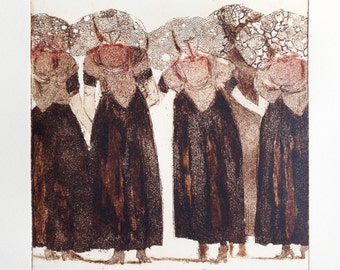 original etching and aquatint of a group of ladies wearing traditional Dutch costume: 'Zeeuwse Babbelaars'