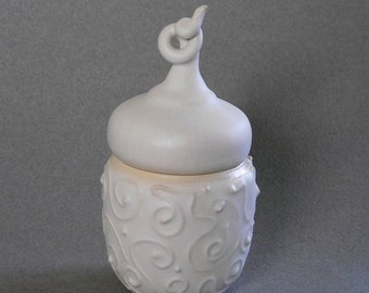White ceramic box, ring box, trinket box