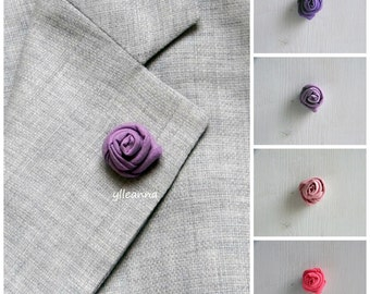 Flower lapel pin - Men's lapel flower - Men buttonhole - Men boutonniere - Violet and Pink hues - Made in Italy