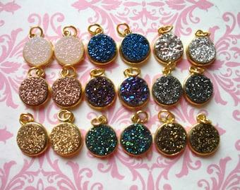 Drusy,, Druzy Pendant Charm, 11 mm, pick color, Sterling Silver or 24k Gold Bezel Set Drussy Druzzy, ap31.2 dr gcp10 ll gp