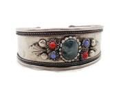 India Bracelet, Green Agate Stone, Vintage Cuff, Big Statement, Boho Bohemian, Blue Red, Silver Metal Cuff, Tribal Ethnic, Patina, Festival