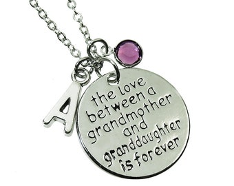 The Love between a Grandmother and Granddaughter is Forever Necklace - Customized Initial and Birthstone