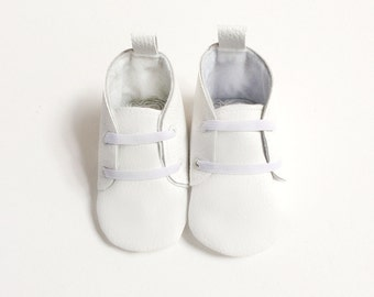 White Vegan Leather Baby Booties | Soft Sole Baby Crib Shoes | Lace Up Boots | Baby Boots Dressy Christening Baptism Outfit Infant Newborn