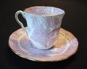 Mid Century Adderley Purple Blue Willow English China Demitasse Espresso Teacup and Saucer