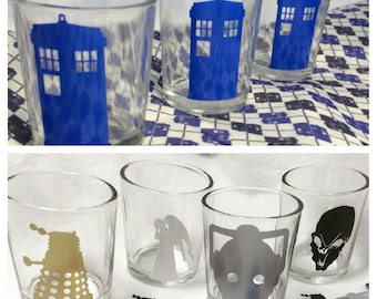 Doctor Who Tardis Weeping Angel Dalek Silence Cyberman Wedding Candle Votive Holder Centerpiece Nerd Geek Wedding