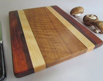 Beautiful RECLAIMED Hardwoods Small Cutting Board  Cherry, Black Walnut, Maple and Mahogany