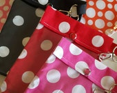 READY TO SHIP Polka Dot Grab Bag (3 Medium 5x7) Clear Front Pouches with Clips Cosmetics Purse Junk Organizer Gifts Under 6 Each