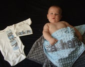 Coming home outfit - personalized bodysuit, beanie cap, and minky blanket in your choice of colors by Tried and True Designs on Etsy