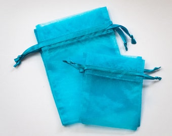 100 Organza Bags, 3 x 4 inches, Aqua Turquoise