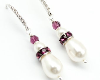 Amethyst Bridal Earrings, Pearl Earrings, Drop Dangle Bridesmaids Earrings, Bridal Jewelry, Swarovski Jewelry Purple Eggplant