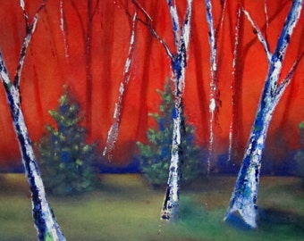 Large Trees Landscape Sunset Original Contemporary Modern Art Abstract Trees Painting Ready to Ship