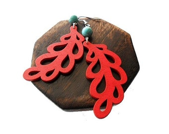Red Leaf Wooden Earrings with Turquoise Stones