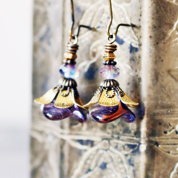 Violet Flower Earrings with Antiqued Brass