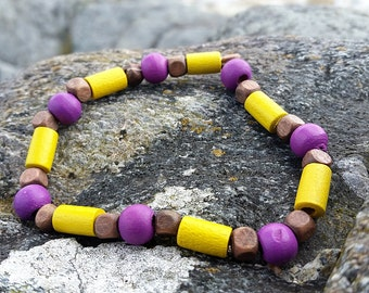 Yellow and Purple Wooden Bead Surf Style Bracelet