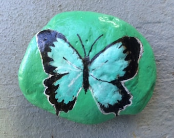 Blue swallowtail butterfly painted rock paperweight