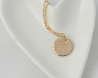 Gold Utah Necklace / 14k Gold filled circle tag Necklace/ Utah Girl necklace / State Necklace / Sterling silver Utah necklace