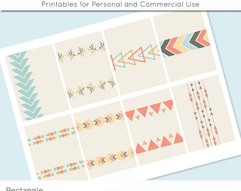 """Digital Collage Sheet Tribal Geometric 2.5"""" x 3.5""""  Images ATC ACEO Magnets Card Jewelry Holder Hang Tag Journaling Scrapbooking"""
