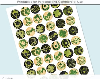 Digital Collage Sheet Circle St Patricks Shamrocks 30mm 25mm 20mm Download Sheets for Glass Pendants Cuff Links Round