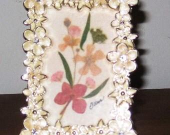 Sweet little 2.5x3.5  pressed flower bouquet in sherbet colors