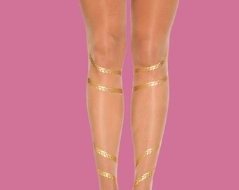 Braids, gold printed sheer tights, available in S-M, L-XL