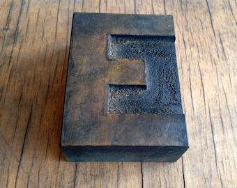 Antique Letterpress printers Wood Type - Letter E
