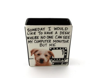 dog pencil holder, funny gift for co worker, office gift, desk accessory, smiling puppy, work, computer