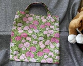 Book Lunch N Small Gift Tote Bag, Pink Hydrangeas Print