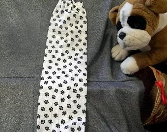 Plastic Bag Holder Sock, Black Dog Paws on White Print