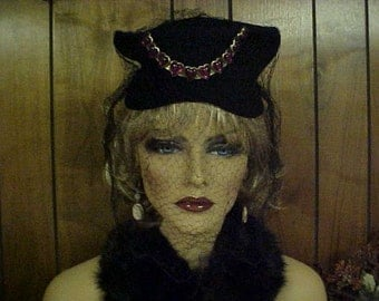 Black wool mourning hat with long black face veil- and jeweled front-hat  fits 21-22 inches
