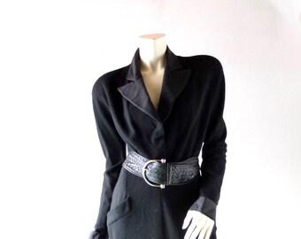 Vintage 80s Donna Karan Black Stretch Wool Jersey Peak Collar Dress - Classic Power Career Dressing - Day to Evening Chic - sz 10 12 14 -
