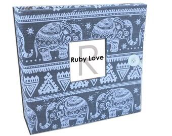 BABY BOOK | Gray Boho Elephant Album | Ruby Love Modern Baby Memory Book
