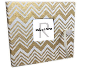 BABY BOOK | Gold Chevron Album - Baby Memory Book