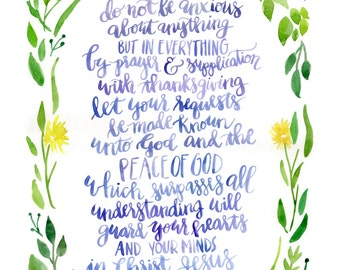 Watercolor print of Philippians 4:6-7 Be anxious for nothing 8x10