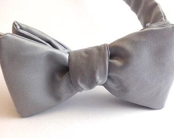 Solid Gray Self Tie Bow Tie - Mens Bow Tie - Grey Bow Tie - Mens Tie - Wedding Bow Tie - Wedding Accessory - Groom - Groomsmen
