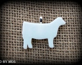 Glass Charolais Show Heifer, Cattle, Steer, Cow, Pendant
