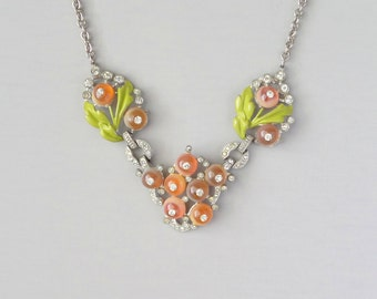 Art Deco Rhinestone Necklace. Sparkly Fruit & Painted Leaves.