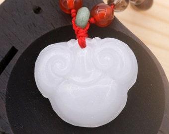 Auspicious Ruyi PingAn Suo unisex necklace - smoky quartz, rose quartz, agate, aventurine, and white jage