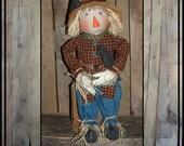 reserved for egg222 hand embroidered folk art rag doll scarecrow handmade crows raffia hair burlap hat HAFAIR ofg faap HAGUILD