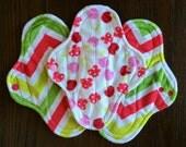 "9.5"" Medium Flow Reusable Cloth Pad ~ Citrus Wave and Cherry Soda Minky ~ by Talulah Bean"