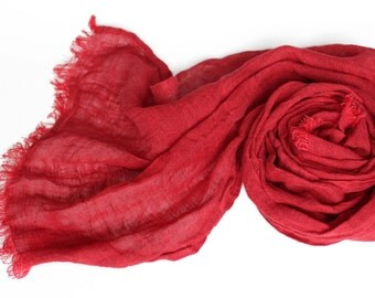 Red 100% Linen Scarf   Womans Scarf   Carmine Red flax scarf   Crimson red mens scarf   Birthday Gift idea for her him   Gifts under25
